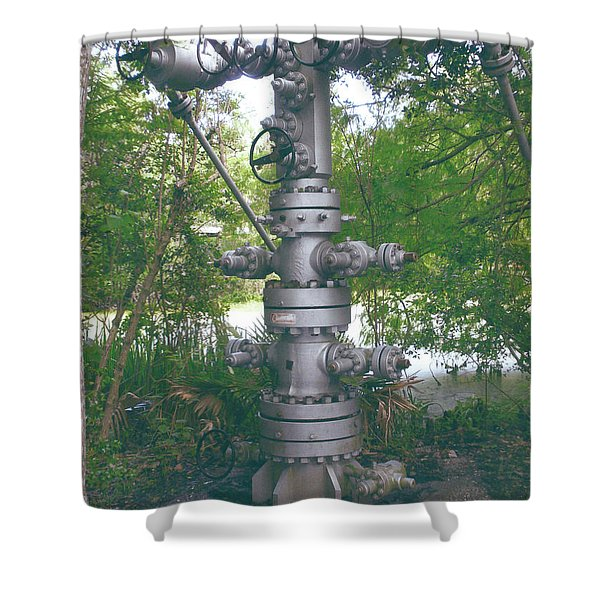 Oilfield Christmas Tree Shower Curtain by Joseph Baril