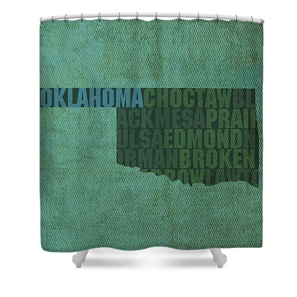 Oklahoma Word Art State Map On Canvas Shower Curtain by Design Turnpike