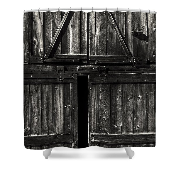 Old Barn Door - BW Shower Curtain by Paul W Faust -  Impressions of Light