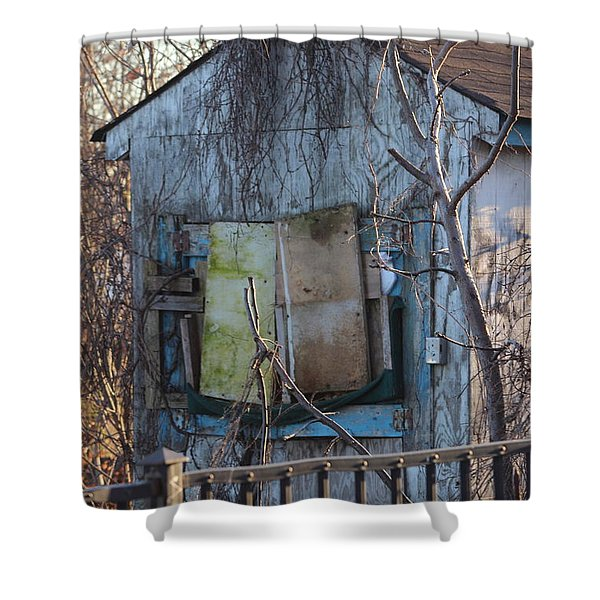 Old Blue Shack Shower Curtain by Tom Gari Gallery-Three-Photography