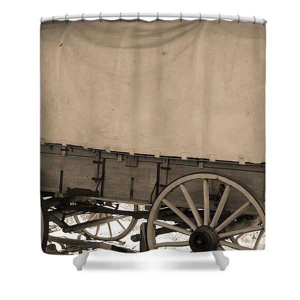 Old Covered Wagon Out West Shower Curtain by Dan Sproul
