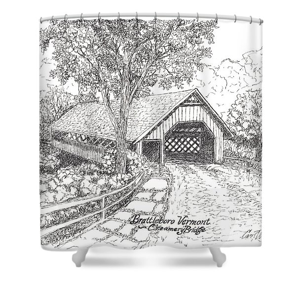 Old Creamery Bridge In Brattleboro Vermont Shower Curtain by Carol Wisniewski