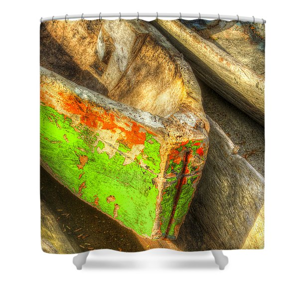 Old Dug-out Canoes Shower Curtain by Debra and Dave Vanderlaan