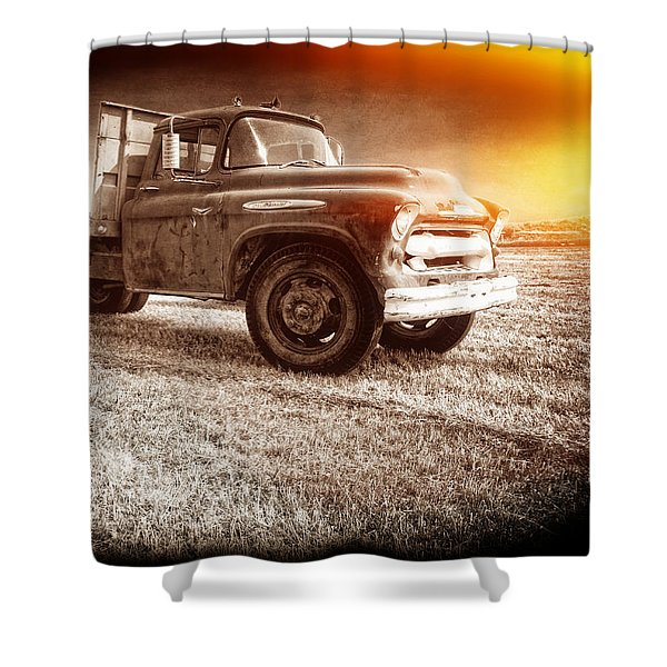 Old farm truck with explosion at night Shower Curtain by Edward Fielding
