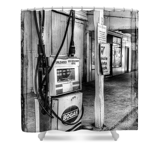 Old Fuel Pump - Black And White Shower Curtain by Kaye Menner