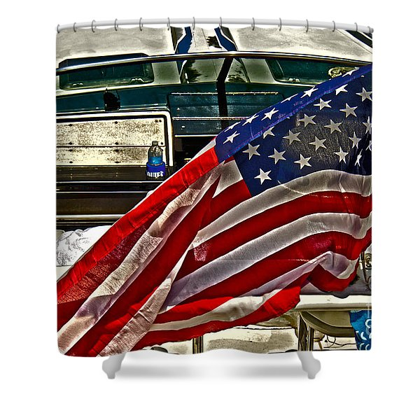 Old Glory And The Bay Shower Curtain by Tom Gari Gallery-Three-Photography