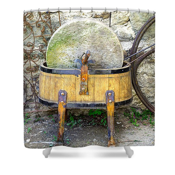 Old grindstone Shower Curtain by Ivan Slosar