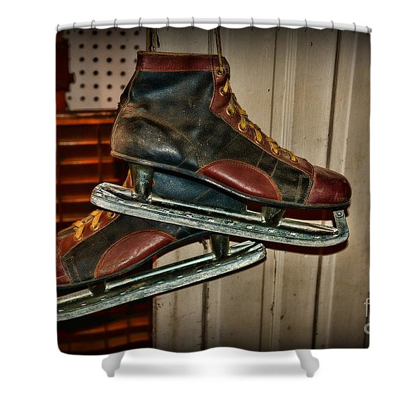 Old Hockey Skates Shower Curtain by Paul Ward