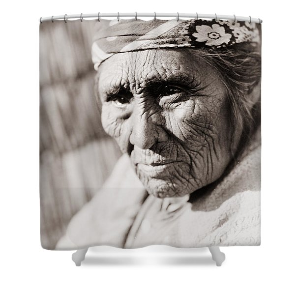 Old Klamath Woman Circa 1923 Shower Curtain by Aged Pixel