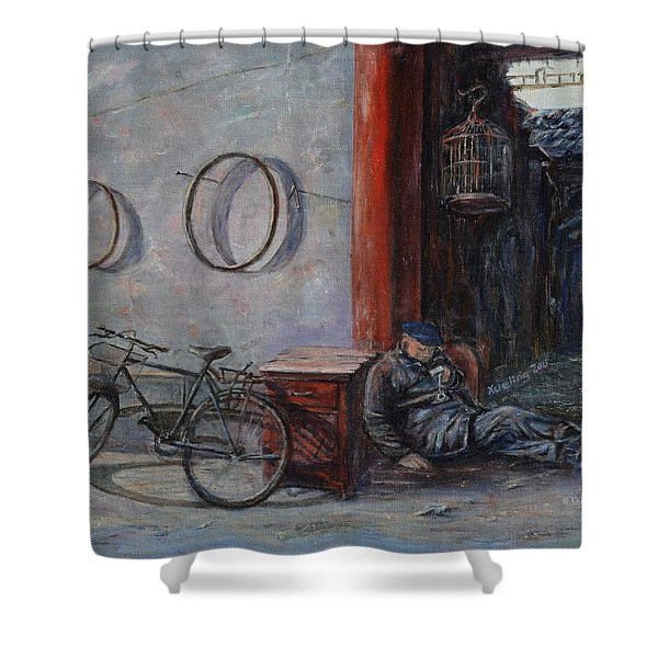 Old Man And His Bike Shower Curtain by Xueling Zou