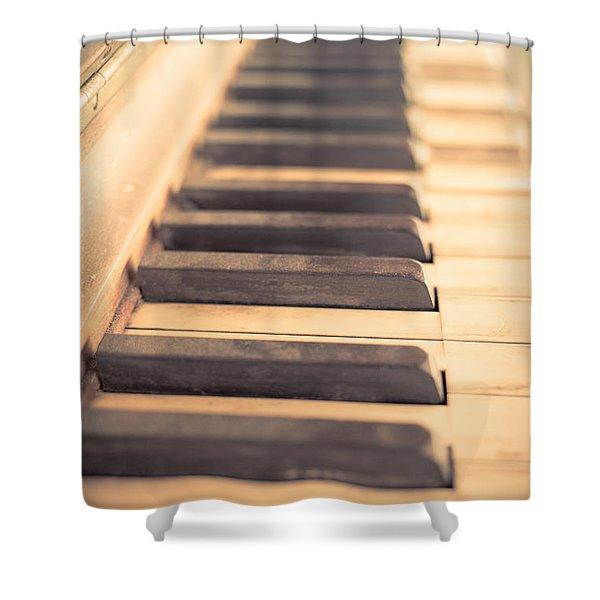 Old Piano Keys Shower Curtain by Edward Fielding