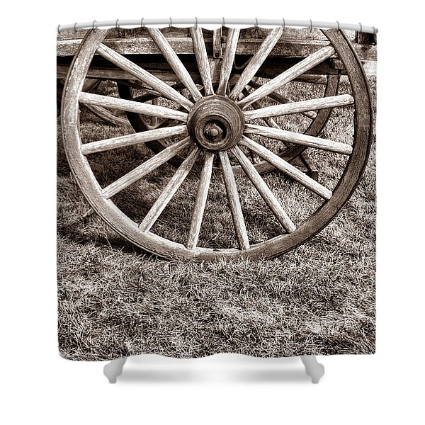 Old Prairie Schooner Wheel Shower Curtain by American West Legend By Olivier Le Queinec