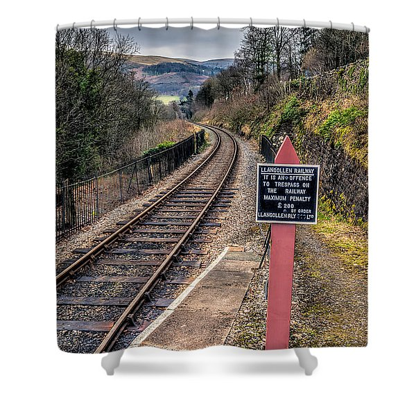 Old Railway Sign Shower Curtain by Adrian Evans