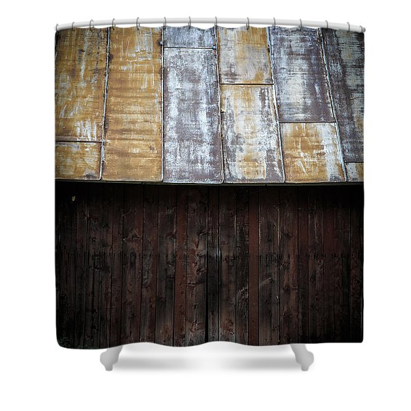 Old Rusty Tin Roof Barn Shower Curtain by Edward Fielding