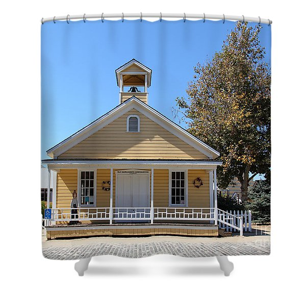 Old Sacramento California Schoolhouse 5D25541 Shower Curtain by Wingsdomain Art and Photography
