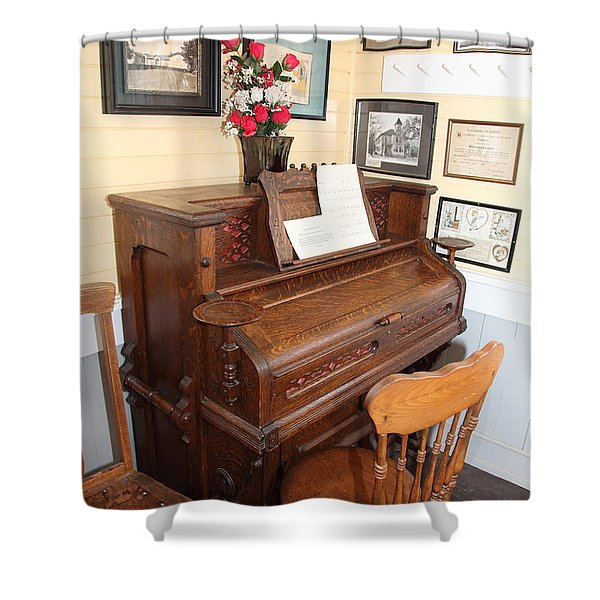 Old Sacramento California Schoolhouse Piano 5d25783 Shower Curtain by Wingsdomain Art and Photography