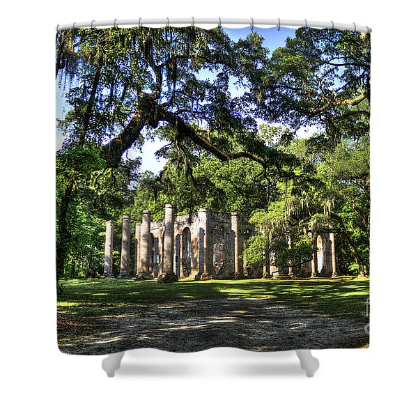 Old Sheldon Church Ruins near Beaufort SC Shower Curtain by Reid Callaway