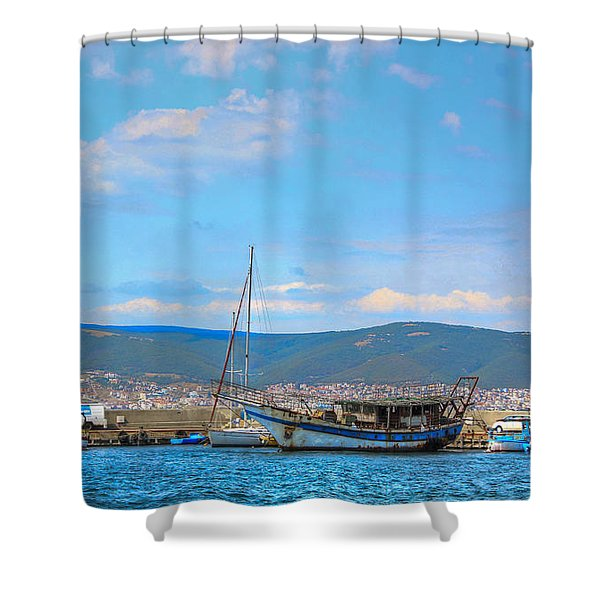 Old Ship Skeleton Shower Curtain by Eti Reid