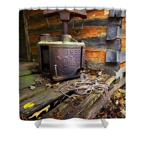Old Sorghum Press Shower Curtain by Debra and Dave Vanderlaan