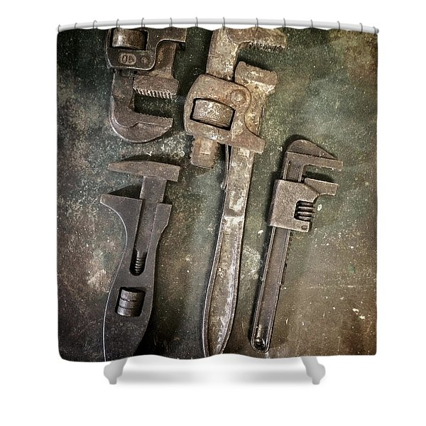 Old Spanners Shower Curtain by Carlos Caetano
