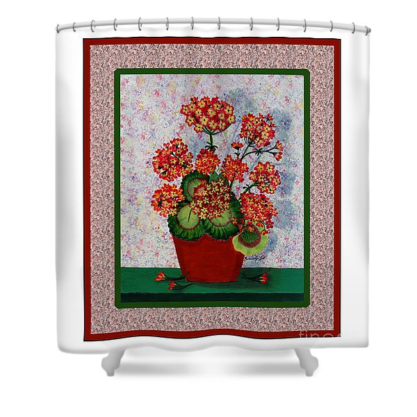 Old Time Geraniums Shower Curtain by Barbara Griffin