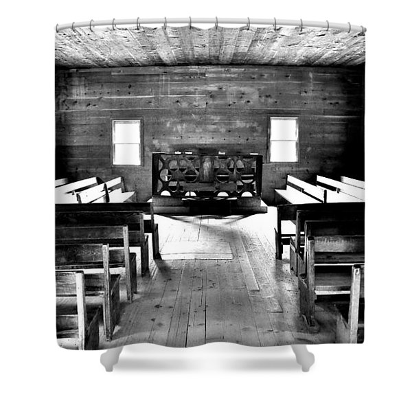 Old Time Religion -- Cades Cove Primitive Baptist Church Shower Curtain by Stephen Stookey