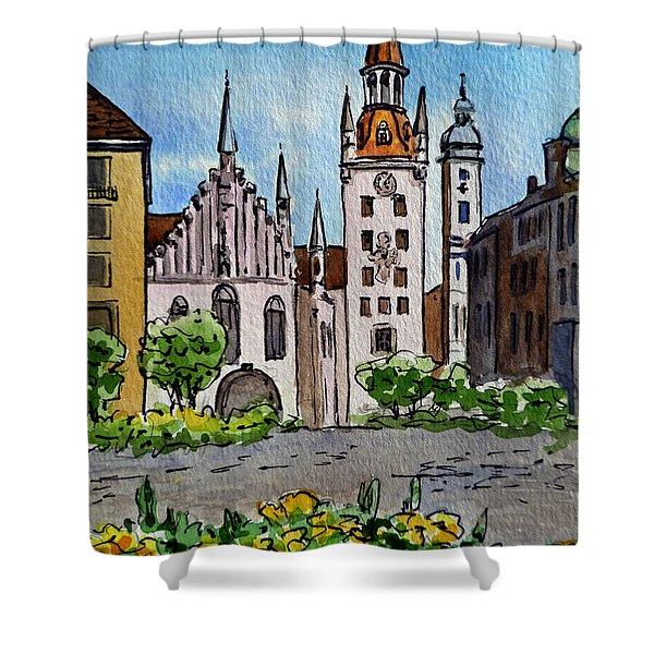 Old Town Hall Munich Germany Shower Curtain by Irina Sztukowski