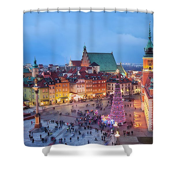Old Town in Warsaw at Evening Shower Curtain by Artur Bogacki