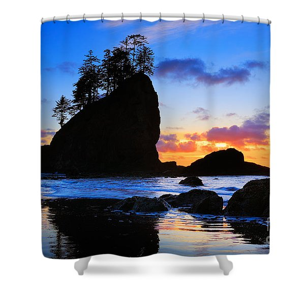 Olympic Sunset Shower Curtain by Inge Johnsson