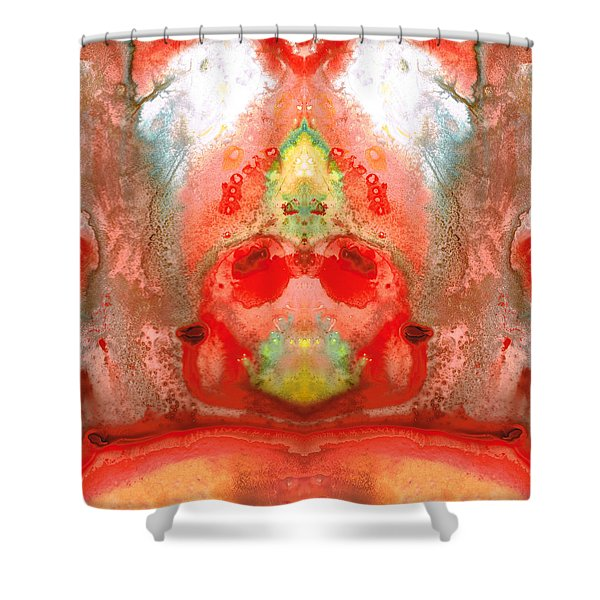 Om - Red Meditation - Abstract Art By Sharon Cummings Shower Curtain by Sharon Cummings