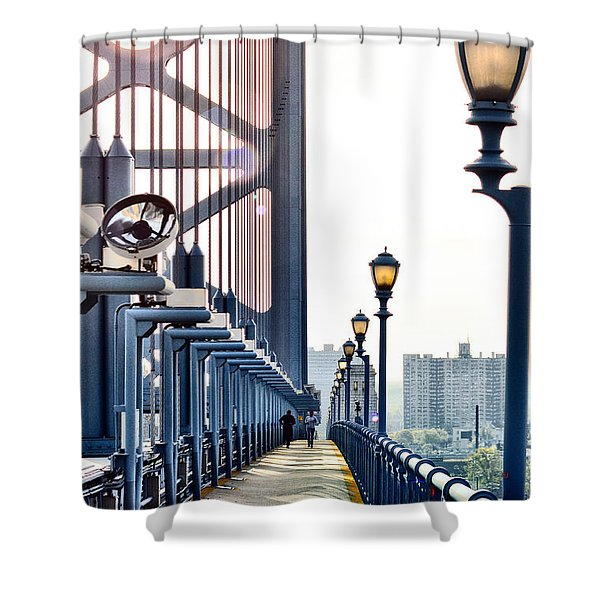 On The Ben Franklin Bridge Shower Curtain by Bill Cannon