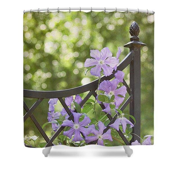 On The Fence Shower Curtain by Kim Hojnacki