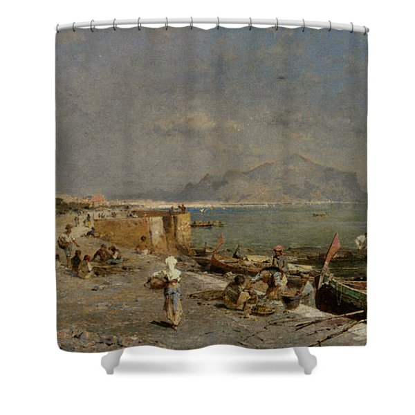 On The Waterfront at Palermo Shower Curtain by Franz Richard Unterberger