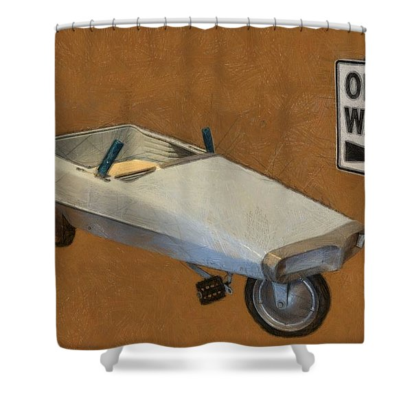 One Way Pedal Car Shower Curtain by Michelle Calkins