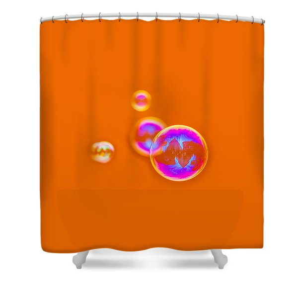 Orange Bubbles - Featured 3 Shower Curtain by Alexander Senin