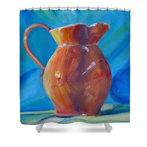 Orange Pitcher Still Life Shower Curtain by Donna Tuten