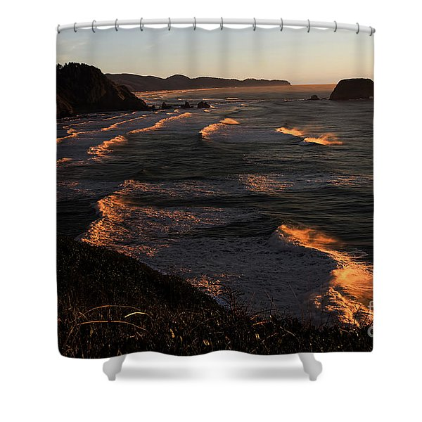 Oregon Coast At Sunset Shower Curtain by Jon Burch Photography
