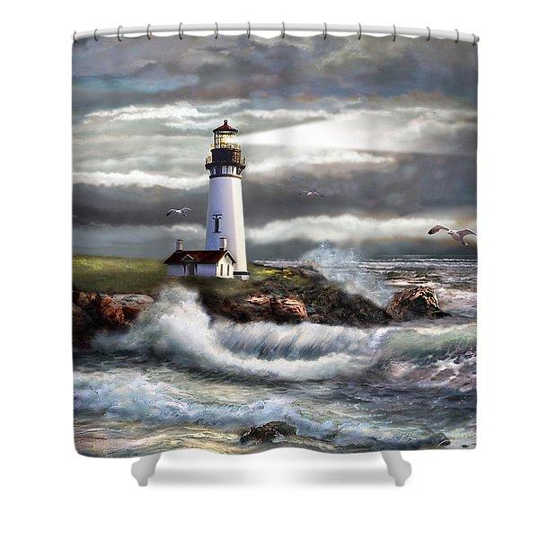 Oregon Lighthouse Beam of hope Shower Curtain by Gina Femrite