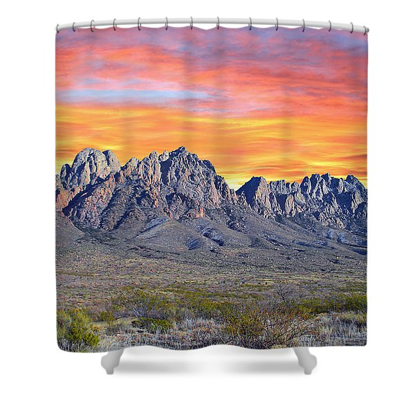 Organ Mountain Sunrise Shower Curtain by Jack Pumphrey