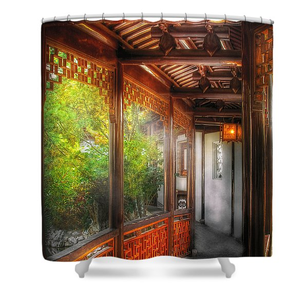 Orient - Continue On Shower Curtain by Mike Savad