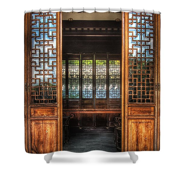 Orient - Door - The Temple Doors Shower Curtain by Mike Savad