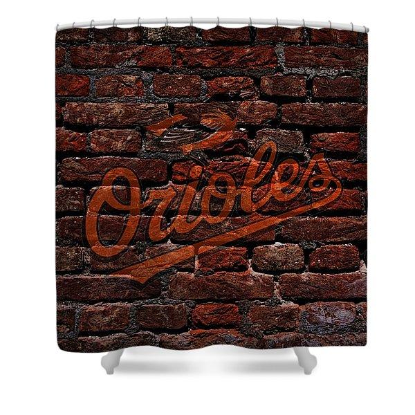 Orioles Baseball Graffiti on Brick  Shower Curtain by Movie Poster Prints