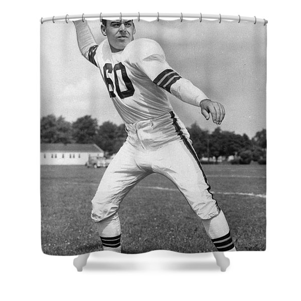 Otto Graham NFL Legend Poster Shower Curtain by Gianfranco Weiss