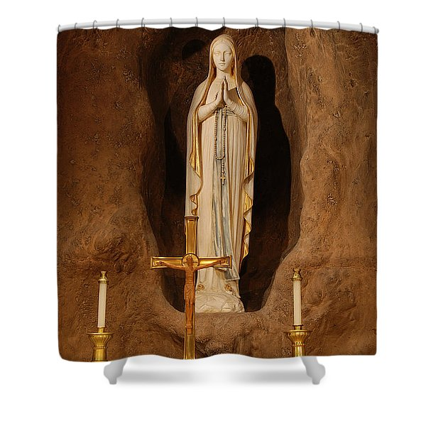 Our Lady Of Lourdes Shower Curtain by Philip Ralley