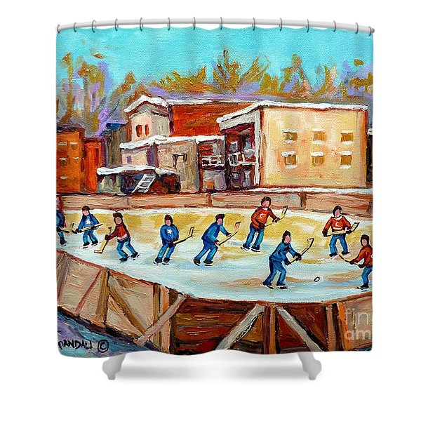 Outdoor Hockey Fun Rink Hockey Game In The City Montreal Memories Paintings Carole Spandau Shower Curtain by Carole Spandau