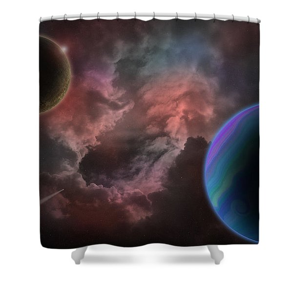 Outer Space Mystery Digital Painting Shower Curtain by Georgeta Blanaru