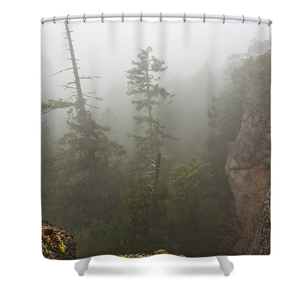 Over The Edge Shower Curtain by Randy Hall