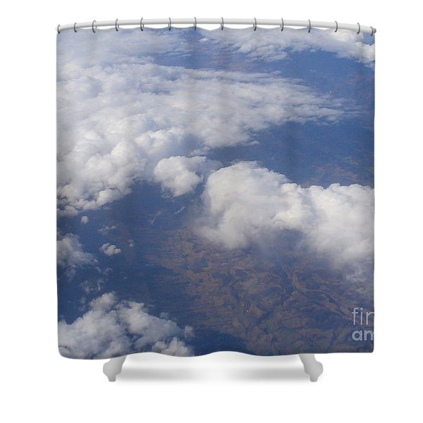 Over The Mountains Shower Curtain by Lingfai Leung