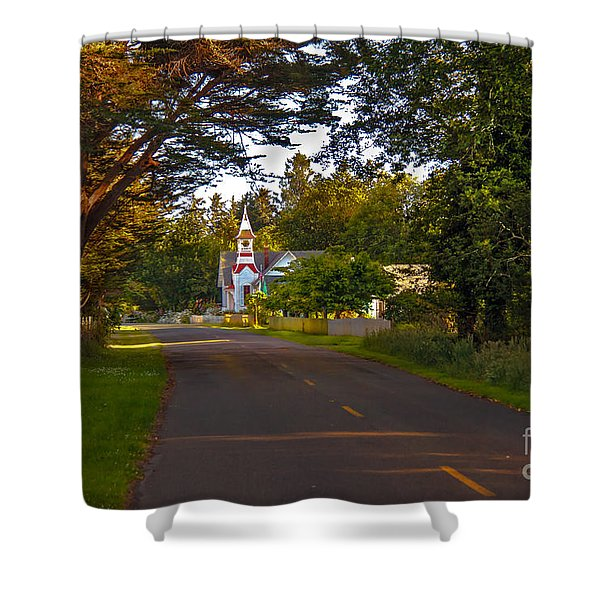 Oysterville Church Framed Shower Curtain by Robert Bales