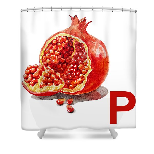 P Art Alphabet for Kids Room Shower Curtain by Irina Sztukowski